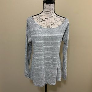 Loft Ann Taylor Gray Marled Long Sleeve Large Top
